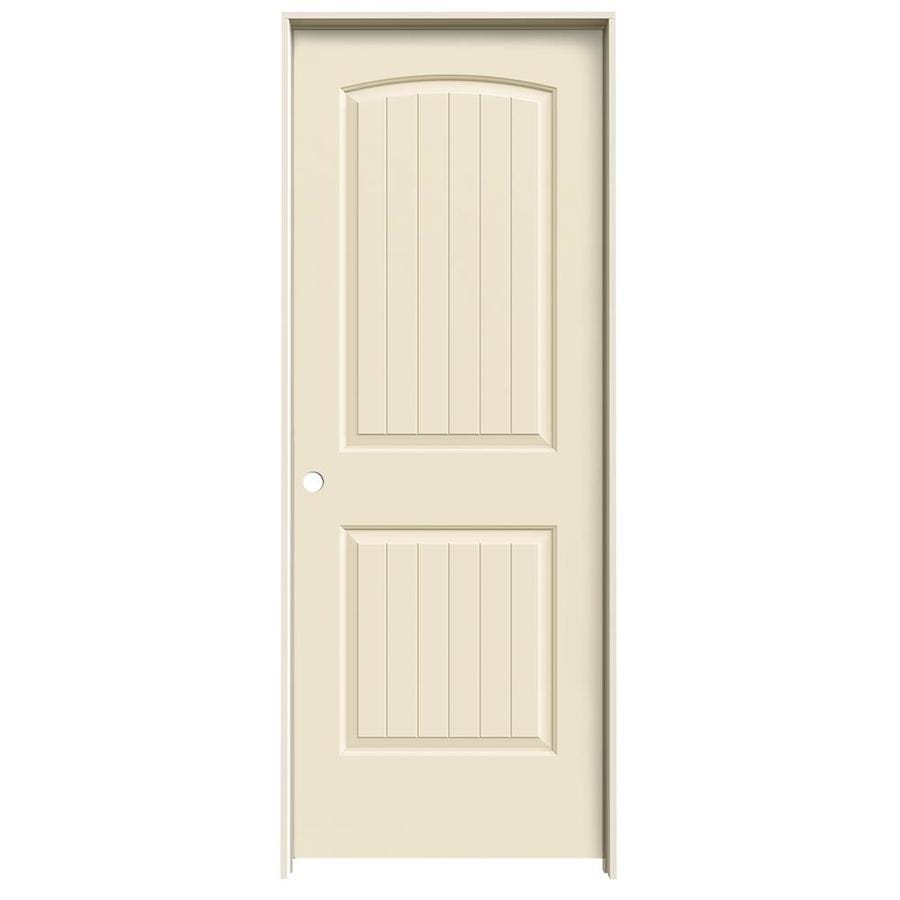JELD-WEN Cream-N-Sugar Prehung Solid Core 2-Panel Round Top Plank Interior Door (Common: 24-in x 80-in; Actual: 25.562-in x 81.688-in)