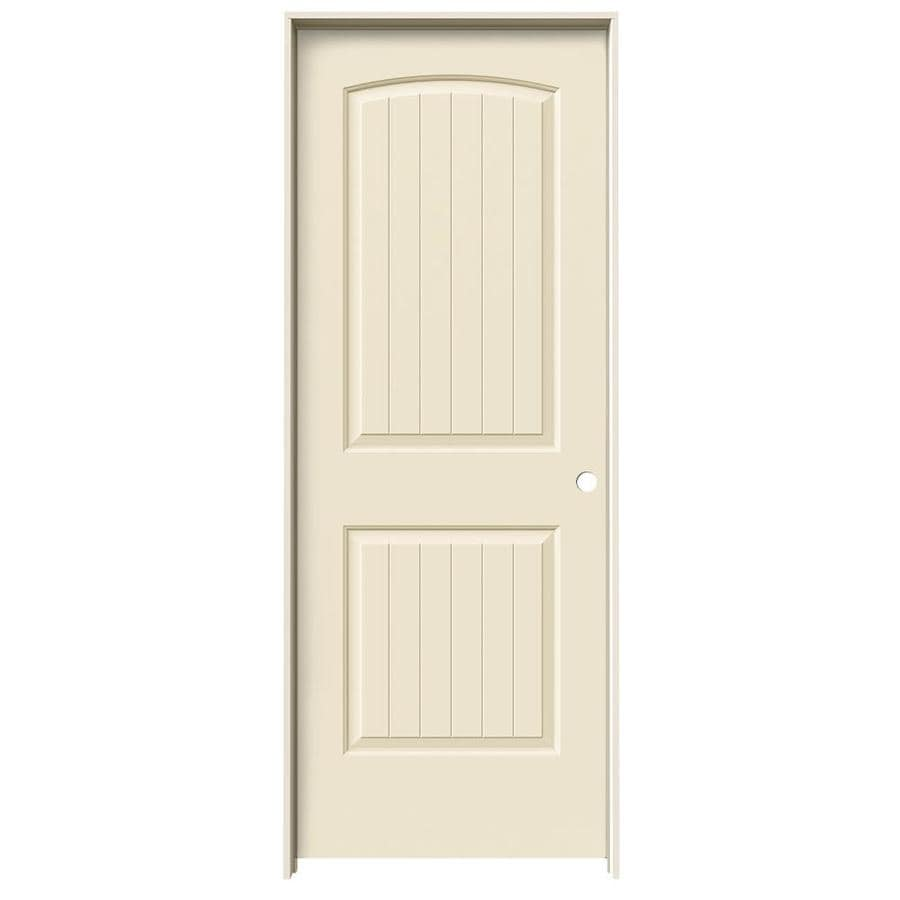 JELD-WEN Cream-N-Sugar Prehung Solid Core 2-Panel Round Top Plank Interior Door (Common: 30-in x 80-in; Actual: 31.562-in x 81.688-in)
