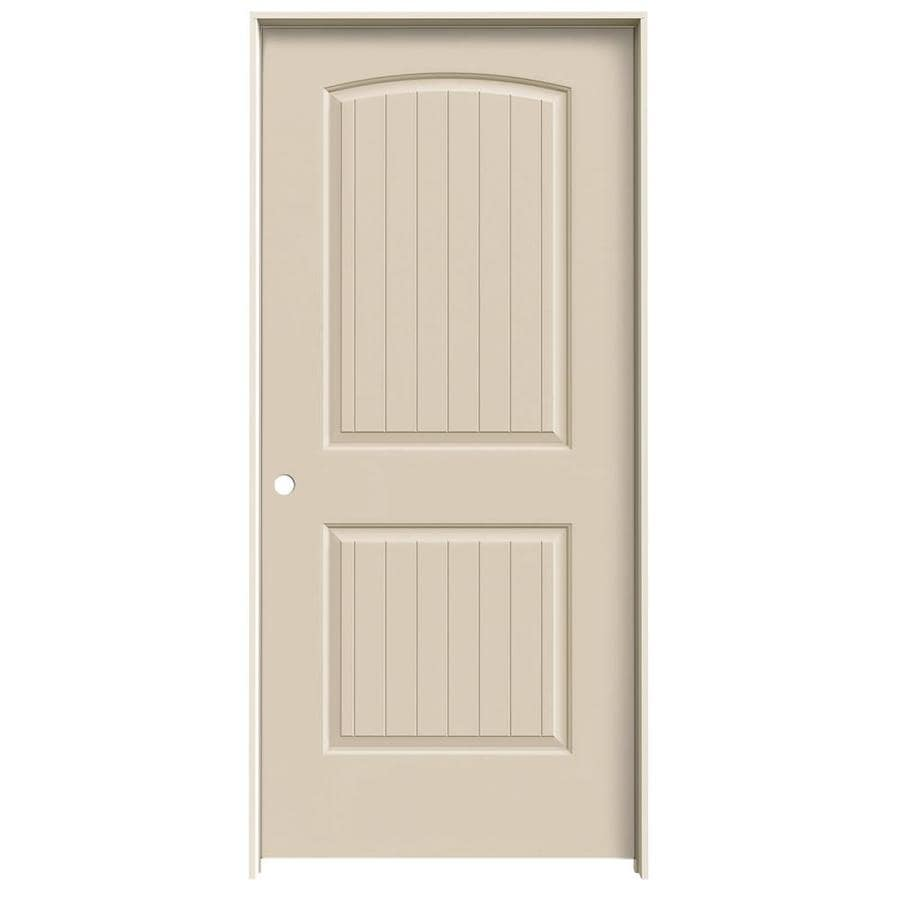 JELD-WEN Cream-n-sugar 2-panel Round Top Plank Single Prehung Interior Door (Common: 36-in x 80-in; Actual: 37.562-in x 81.688-in)