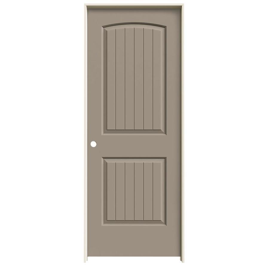JELD-WEN Sand Piper Prehung Solid Core 2-Panel Round Top Plank Interior Door (Common: 28-in x 80-in; Actual: 29.562-in x 81.688-in)