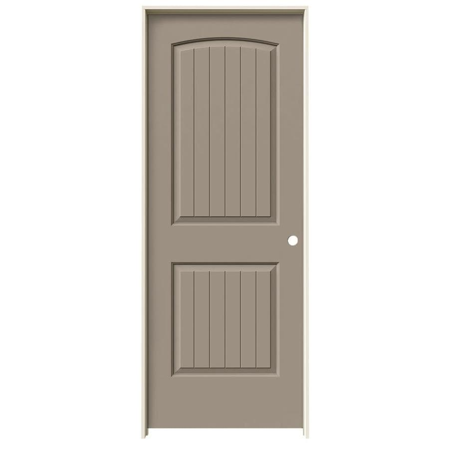 JELD-WEN Sand Piper Prehung Solid Core 2-Panel Round Top Plank Interior Door (Common: 28-in x 80-in; Actual: 29.562-in x 81.688-in)