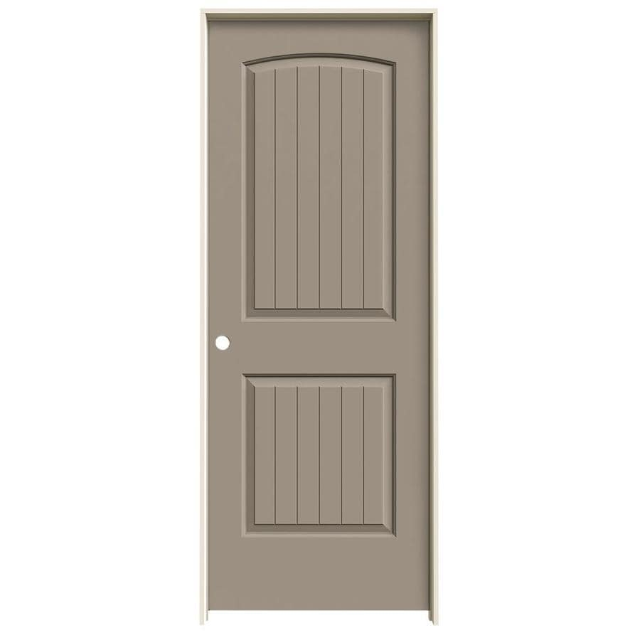 JELD-WEN Sand Piper Prehung Solid Core 2-Panel Round Top Plank Interior Door (Common: 32-in x 80-in; Actual: 33.562-in x 81.688-in)