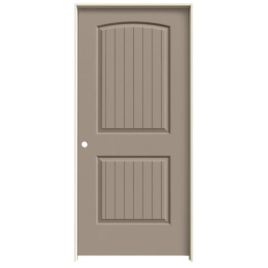 JELD-WEN Sand Piper Prehung Solid Core 2-Panel Round Top Plank Interior Door (Common: 36-in x 80-in; Actual: 37.562-in x 81.688-in)
