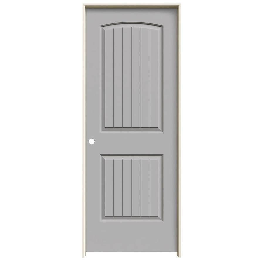 JELD-WEN Driftwood 2-panel Round Top Plank Single Prehung Interior Door (Common: 24-in x 80-in; Actual: 25.562-in x 81.688-in)