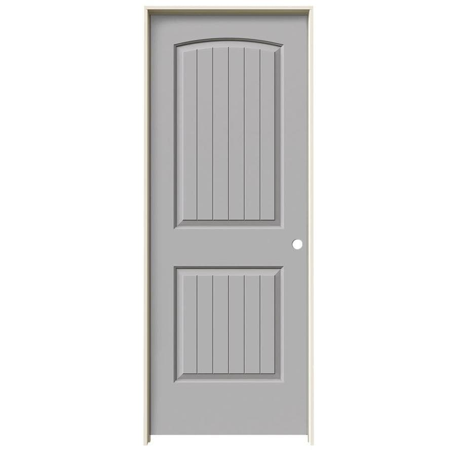 JELD-WEN Driftwood Prehung Solid Core 2-Panel Round Top Plank Interior Door (Common: 30-in x 80-in; Actual: 31.562-in x 81.688-in)