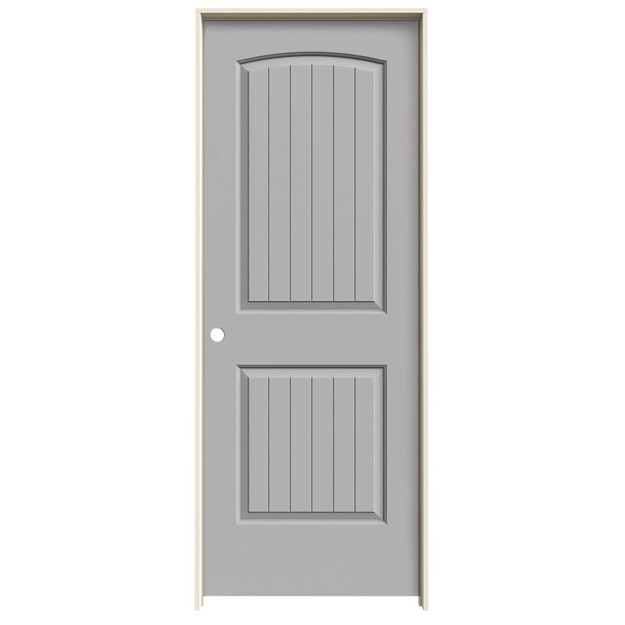 JELD-WEN Driftwood Prehung Solid Core 2-Panel Round Top Plank Interior Door (Common: 32-in x 80-in; Actual: 33.562-in x 81.688-in)
