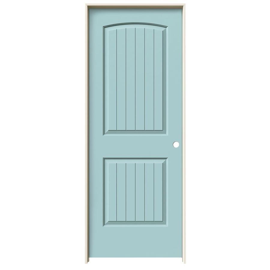 JELD-WEN Sea Mist 2-panel Round Top Plank Single Prehung Interior Door (Common: 28-in x 80-in; Actual: 29.562-in x 81.688-in)