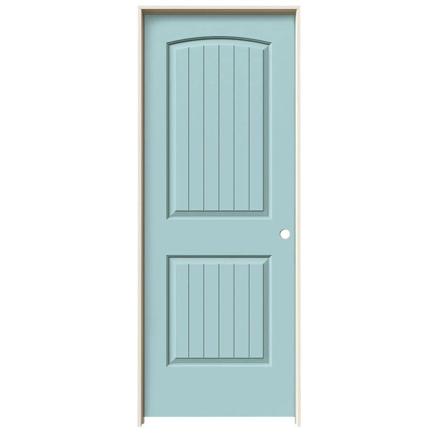 JELD-WEN Sea Mist Prehung Solid Core 2-Panel Round Top Plank Interior Door (Common: 32-in x 80-in; Actual: 33.562-in x 81.688-in)