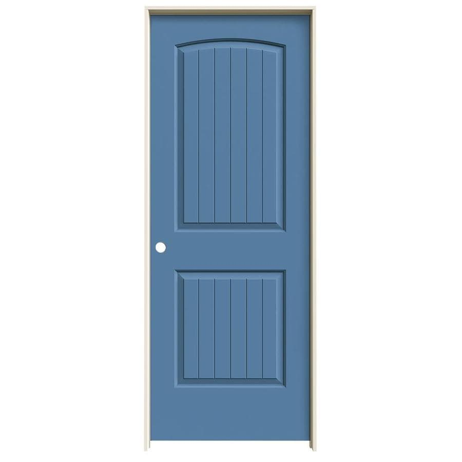 JELD-WEN Blue Heron Prehung Solid Core 2-Panel Round Top Plank Interior Door (Common: 30-in x 80-in; Actual: 31.562-in x 81.688-in)