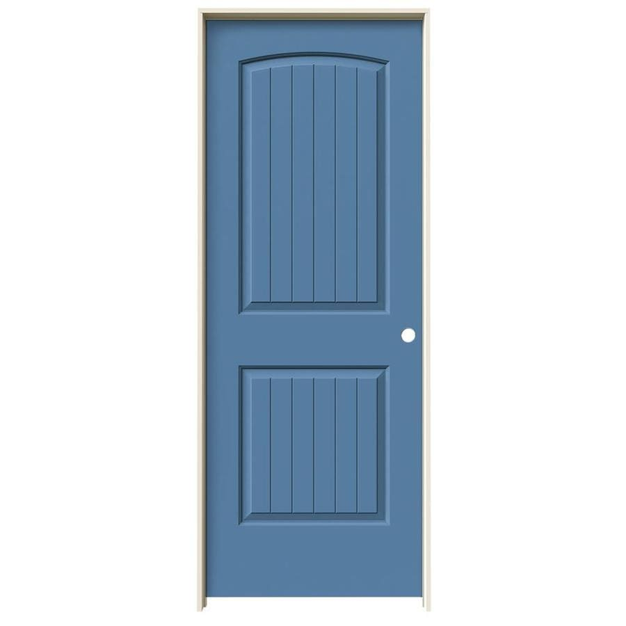 JELD-WEN Blue Heron Prehung Solid Core 2-Panel Round Top Plank Interior Door (Common: 32-in x 80-in; Actual: 33.562-in x 81.688-in)