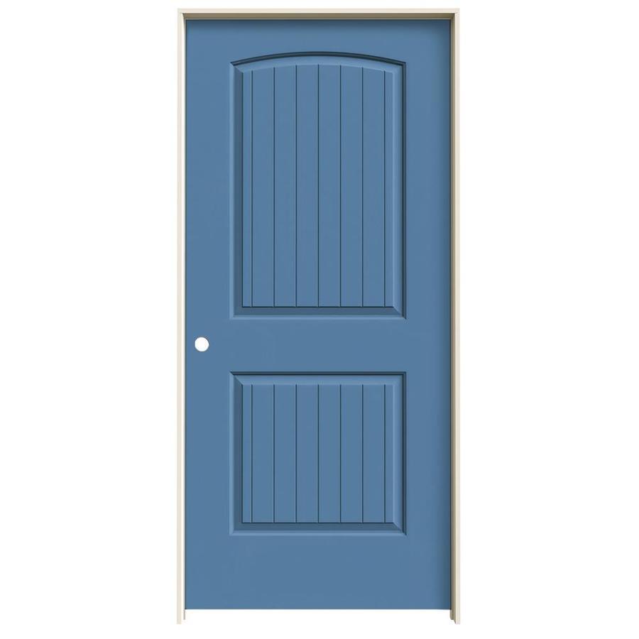 JELD-WEN Blue Heron Prehung Solid Core 2-Panel Round Top Plank Interior Door (Common: 36-in x 80-in; Actual: 37.562-in x 81.688-in)