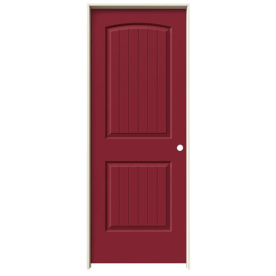 JELD-WEN Barn Red Prehung Solid Core 2-Panel Round Top Plank Interior Door (Common: 24-in x 80-in; Actual: 25.562-in x 81.688-in)