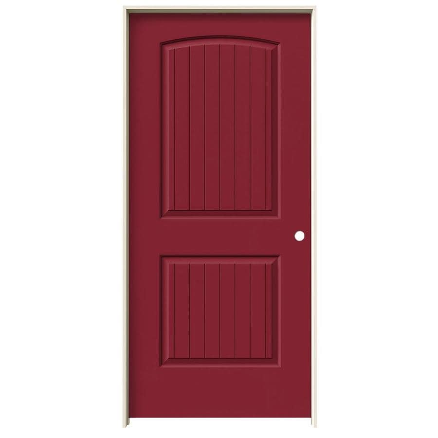 JELD-WEN Barn Red Prehung Solid Core 2-Panel Round Top Plank Interior Door (Common: 36-in x 80-in; Actual: 37.562-in x 81.688-in)