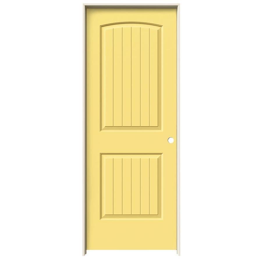 JELD-WEN Marigold 2-panel Round Top Plank Single Prehung Interior Door (Common: 24-in x 80-in; Actual: 25.5620-in x 81.6880-in)
