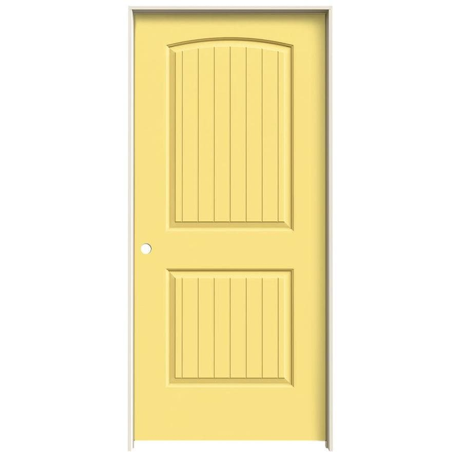JELD-WEN Marigold Prehung Solid Core 2-Panel Round Top Plank Interior Door (Common: 36-in x 80-in; Actual: 37.562-in x 81.688-in)