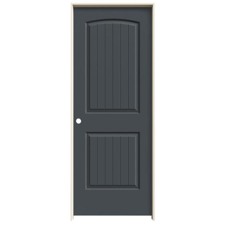 JELD-WEN Slate Prehung Solid Core 2-Panel Round Top Plank Interior Door (Common: 28-in x 80-in; Actual: 29.562-in x 81.688-in)