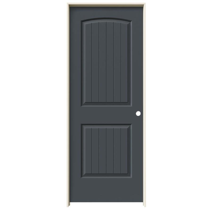 JELD-WEN Slate 2-panel Round Top Plank Single Prehung Interior Door (Common: 28-in x 80-in; Actual: 29.562-in x 81.688-in)