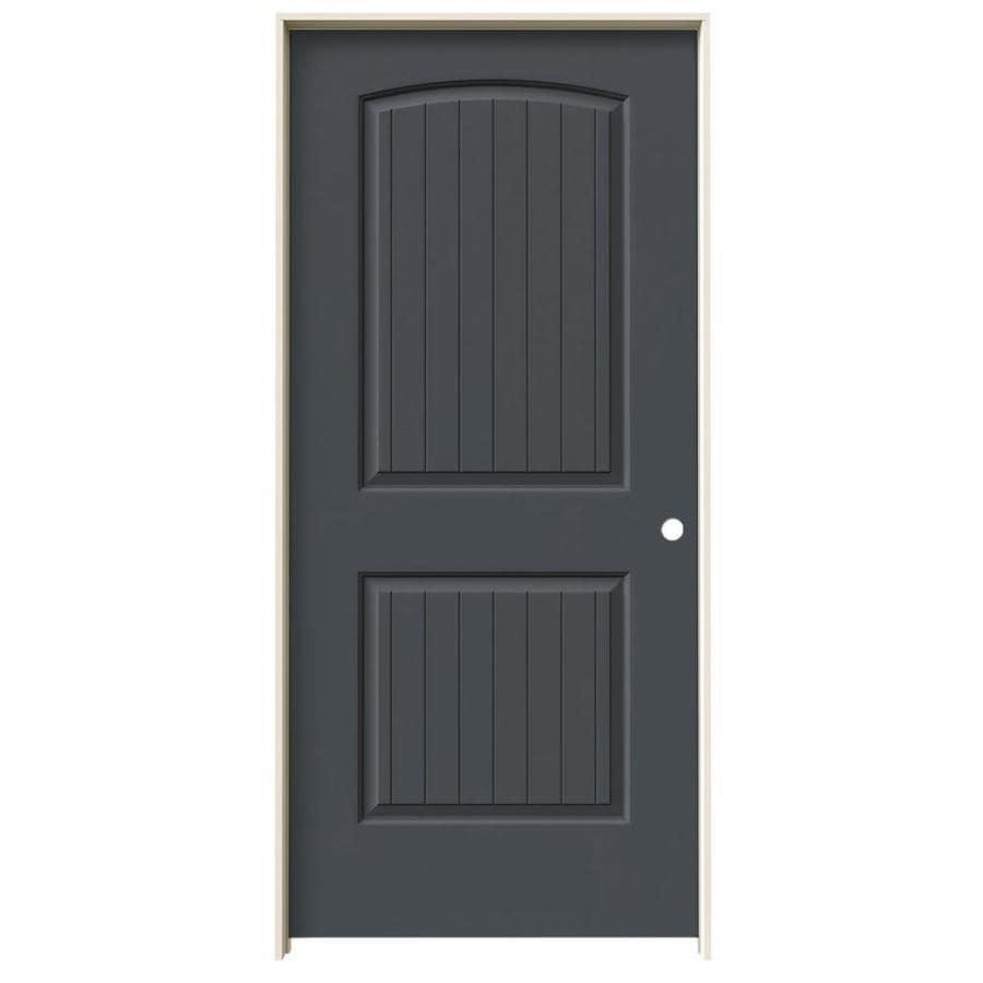 JELD-WEN Slate 2-panel Round Top Plank Single Prehung Interior Door (Common: 36-in x 80-in; Actual: 37.562-in x 81.688-in)