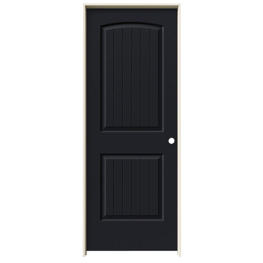 JELD-WEN Midnight Prehung Solid Core 2-Panel Round Top Plank Interior Door (Common: 28-in x 80-in; Actual: 29.562-in x 81.688-in)