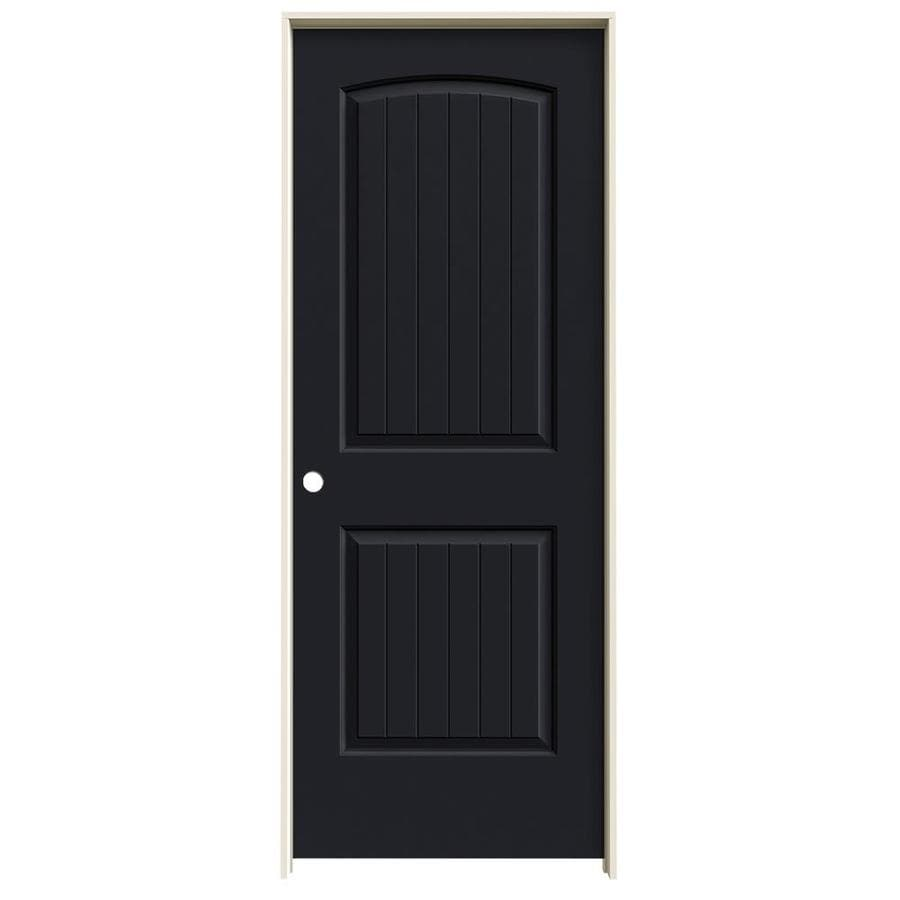 JELD-WEN Midnight 2-panel Round Top Plank Single Prehung Interior Door (Common: 30-in x 80-in; Actual: 31.5620-in x 81.6880-in)