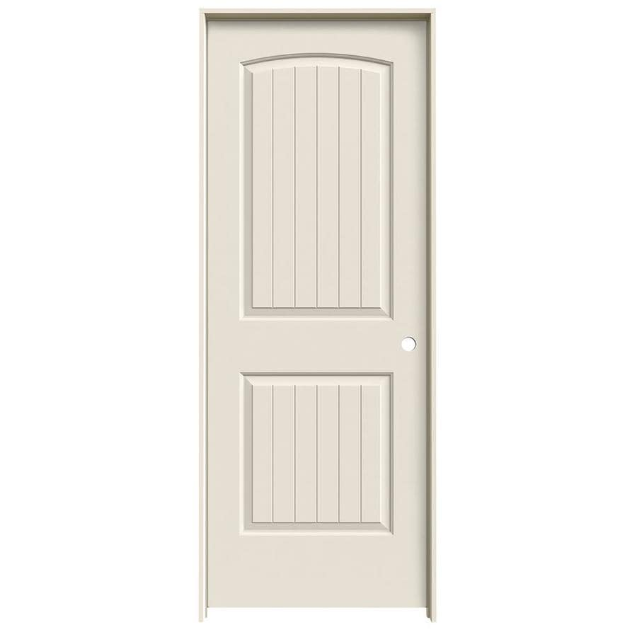 JELD-WEN Prehung Solid Core 2-Panel Round Top Plank Interior Door (Common: 30-in x 80-in; Actual: 31.562-in x 81.688-in)