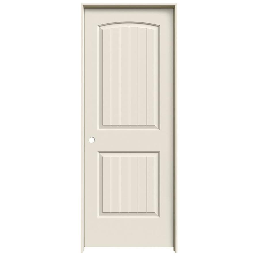 JELD-WEN Prehung Solid Core 2-Panel Round Top Plank Interior Door (Common: 32-in x 80-in; Actual: 33.562-in x 81.688-in)