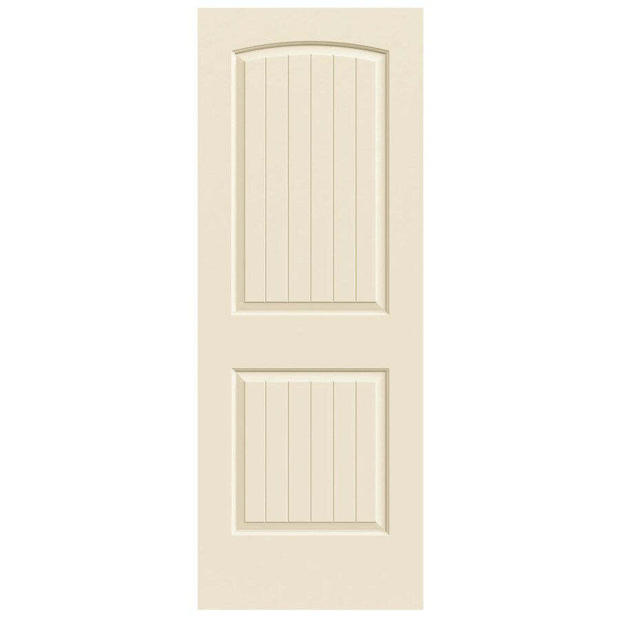 JELD-WEN Cream-N-Sugar Hollow Core 2-Panel Round Top Plank Slab Interior Door (Common: 24-in x 80-in; Actual: 24-in x 80-in)