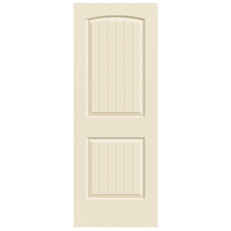 JELD-WEN Cream-n-sugar 2-panel Round Top Plank Slab Interior Door (Common: 28-in X 80-in; Actual: 28-in x 80-in)