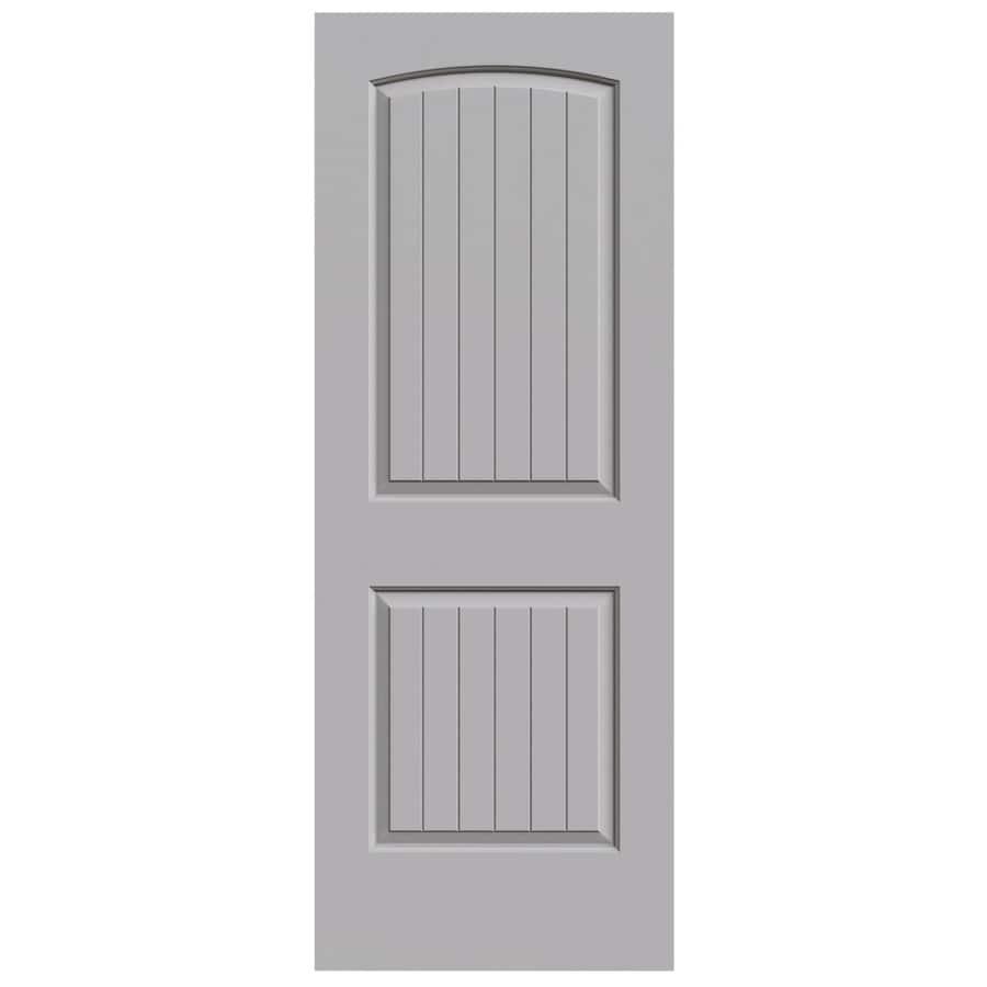 JELD-WEN Driftwood 2-panel Round Top Plank Slab Interior Door (Common: 24-in x 80-in; Actual: 24-in x 80-in)