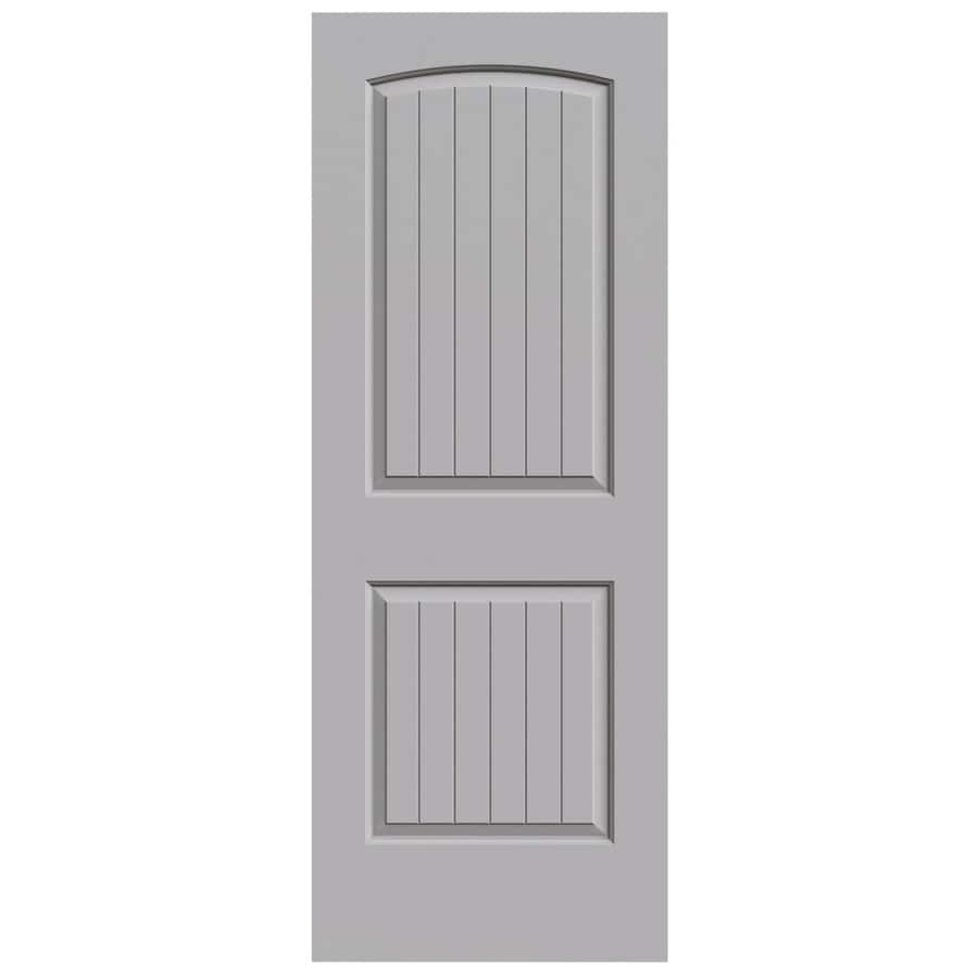 JELD-WEN Driftwood Hollow Core 2-Panel Round Top Plank Slab Interior Door (Common: 32-in x 80-in; Actual: 32-in x 80-in)