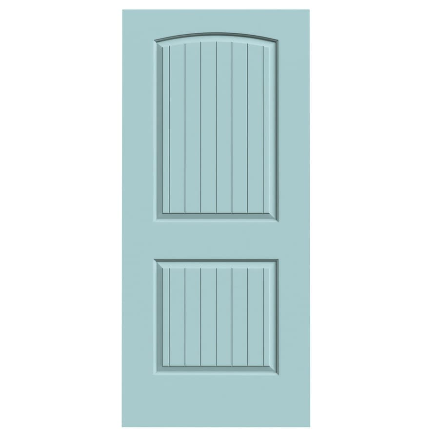 JELD-WEN Sea Mist Hollow Core 2-Panel Round Top Plank Slab Interior Door (Common: 36-in x 80-in; Actual: 36-in x 80-in)
