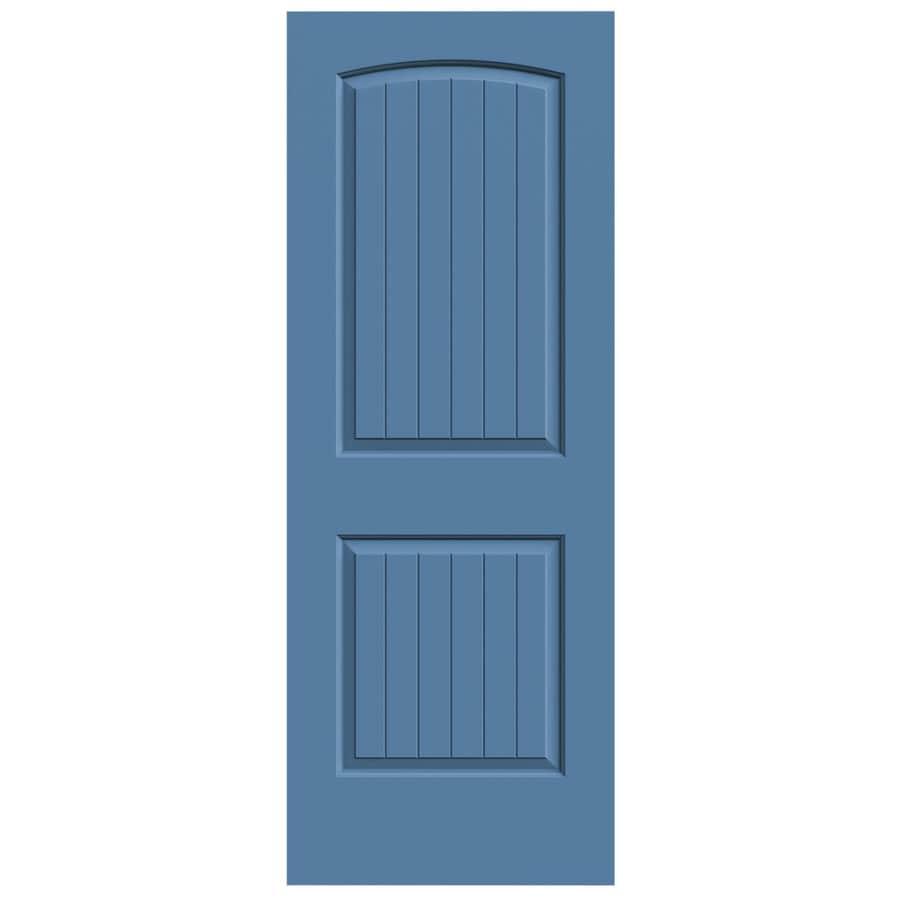 JELD-WEN Blue Heron 2-panel Round Top Plank Slab Interior Door (Common: 24-in x 80-in; Actual: 24-in x 80-in)