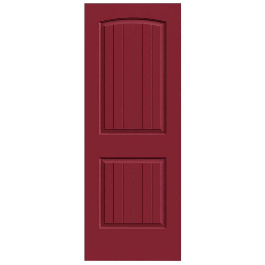 JELD-WEN Barn Red Hollow Core 2-Panel Round Top Plank Slab Interior Door (Common: 28-in x 80-in; Actual: 28-in x 80-in)