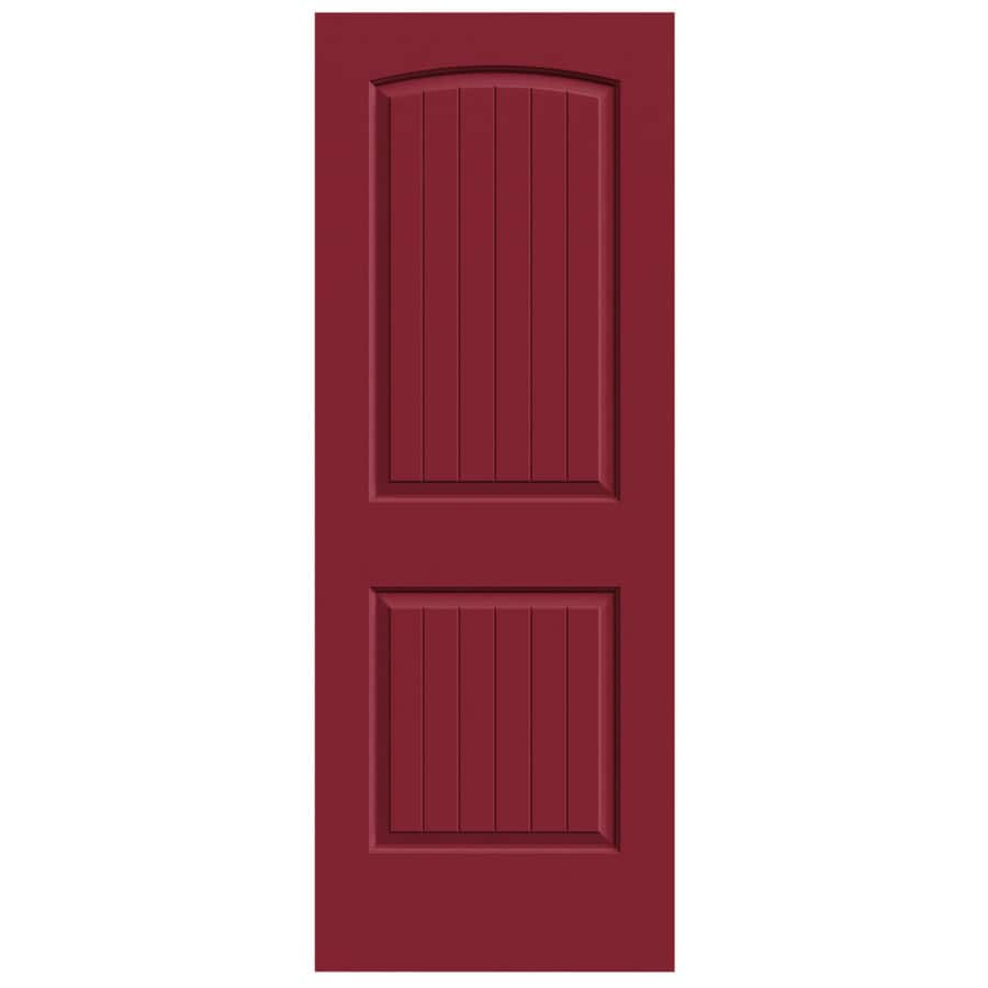 JELD-WEN Barn Red Hollow Core 2-Panel Round Top Plank Slab Interior Door (Common: 30-in x 80-in; Actual: 30-in x 80-in)