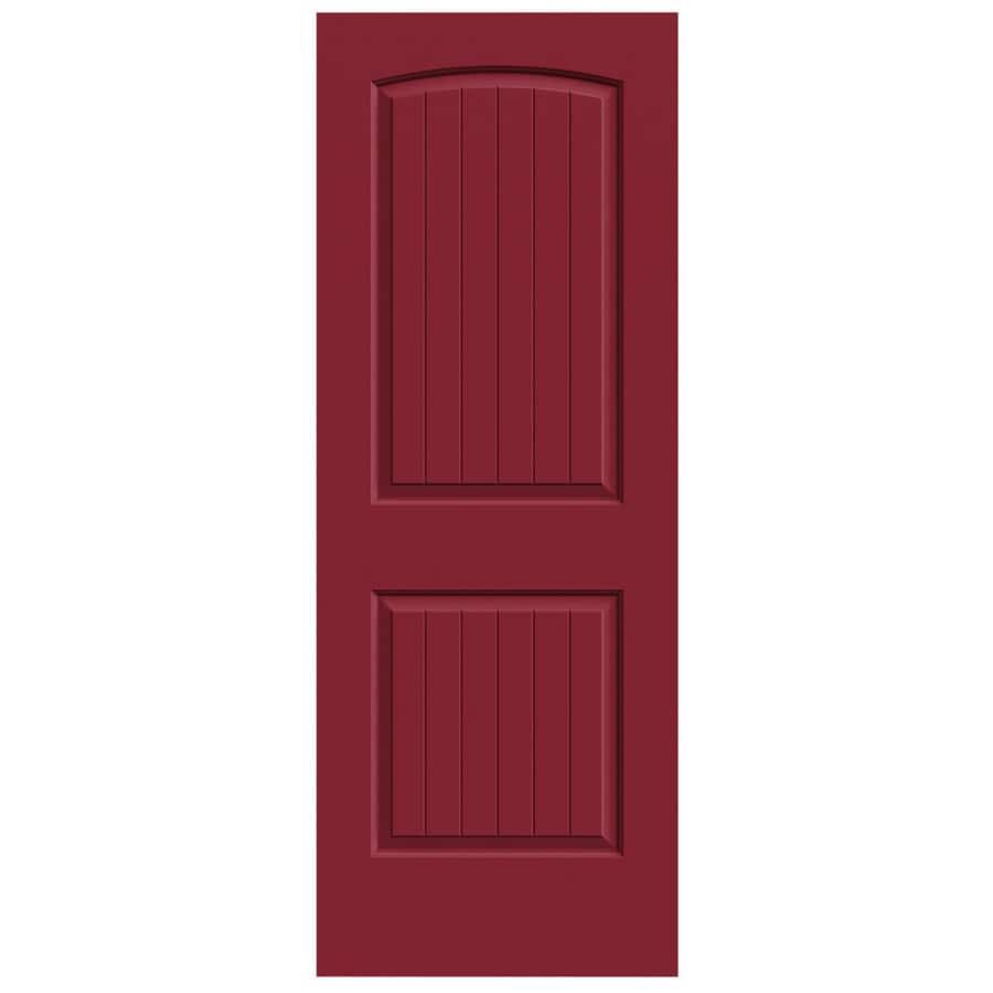 JELD-WEN Barn Red Hollow Core 2-Panel Round Top Plank Slab Interior Door (Common: 32-in x 80-in; Actual: 32-in x 80-in)