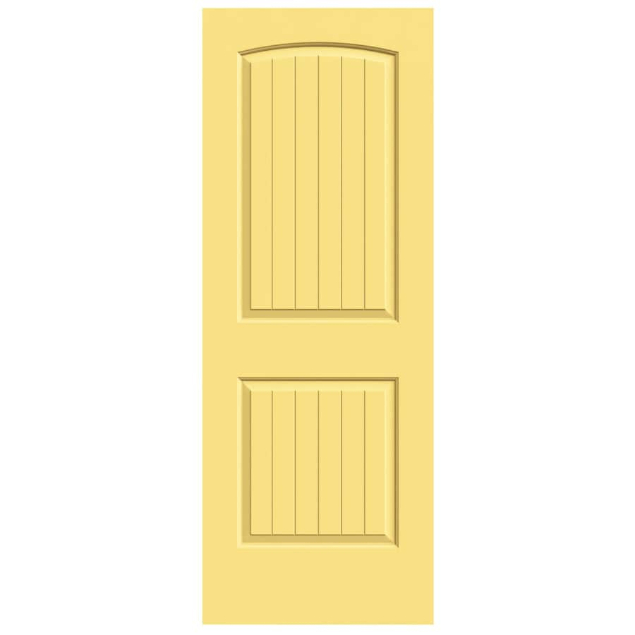 JELD-WEN Marigold Hollow Core 2-Panel Round Top Plank Slab Interior Door (Common: 30-in x 80-in; Actual: 30-in x 80-in)