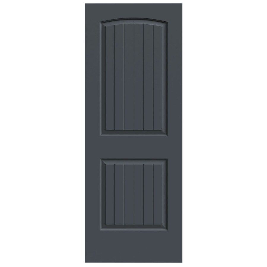 JELD-WEN Slate Hollow Core 2-Panel Round Top Plank Slab Interior Door (Common: 24-in x 80-in; Actual: 24-in x 80-in)