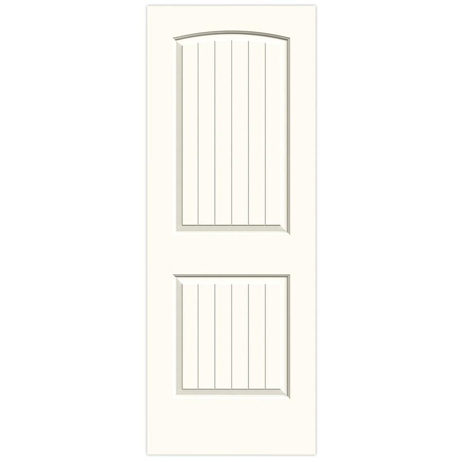 JELD-WEN White Solid Core 2-Panel Round Top Plank Slab Interior Door (Common: 28-in x 80-in; Actual: 28-in x 80-in)