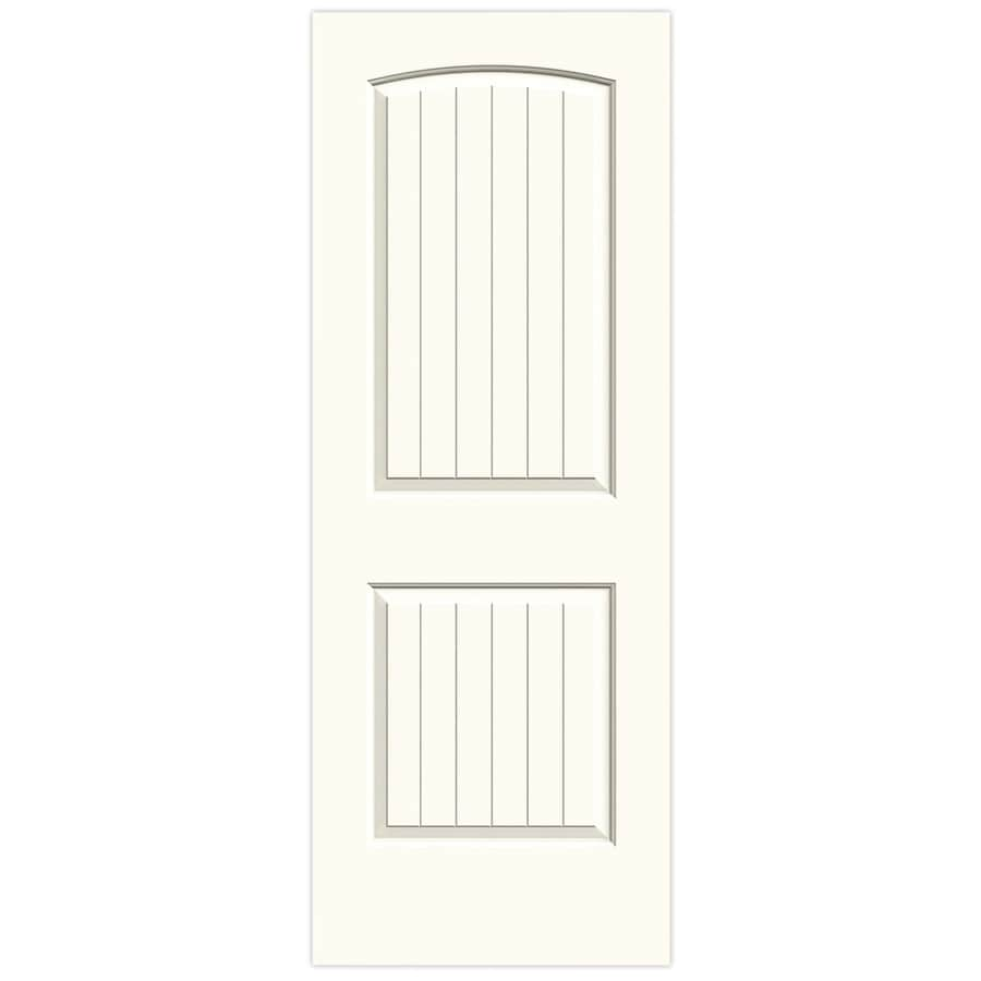 JELD-WEN White Solid Core 2-Panel Round Top Plank Slab Interior Door (Common: 30-in x 80-in; Actual: 30-in x 80-in)