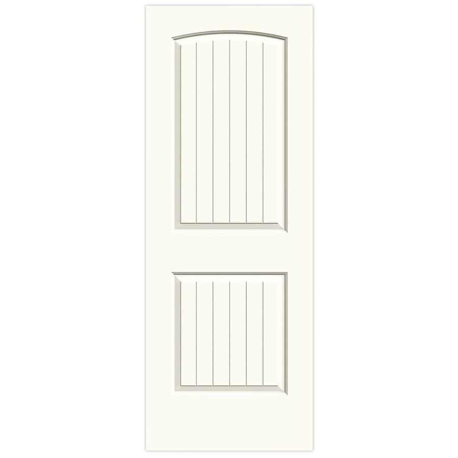JELD-WEN White Solid Core 2-Panel Round Top Plank Slab Interior Door (Common: 32-in x 80-in; Actual: 32-in x 80-in)