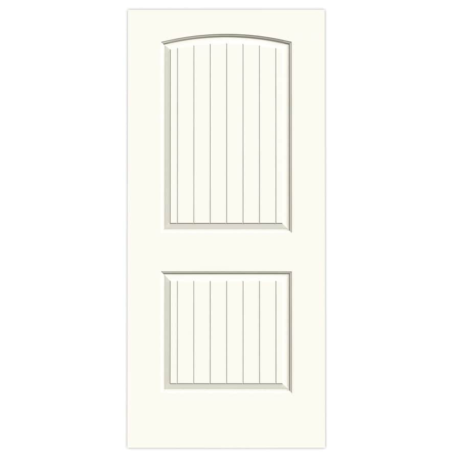 JELD-WEN White Solid Core 2-Panel Round Top Plank Slab Interior Door (Common: 36-in x 80-in; Actual: 36-in x 80-in)