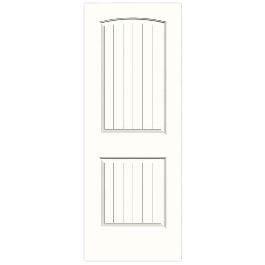 JELD-WEN Snow Storm Solid Core 2-Panel Round Top Plank Slab Interior Door (Common: 24-in x 80-in; Actual: 24-in x 80-in)