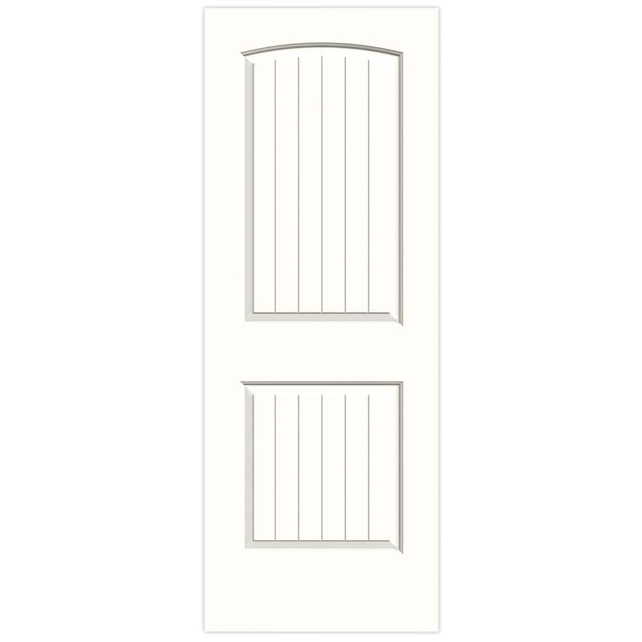 JELD-WEN Snow Storm Solid Core 2-Panel Round Top Plank Slab Interior Door (Common: 28-in x 80-in; Actual: 28-in x 80-in)