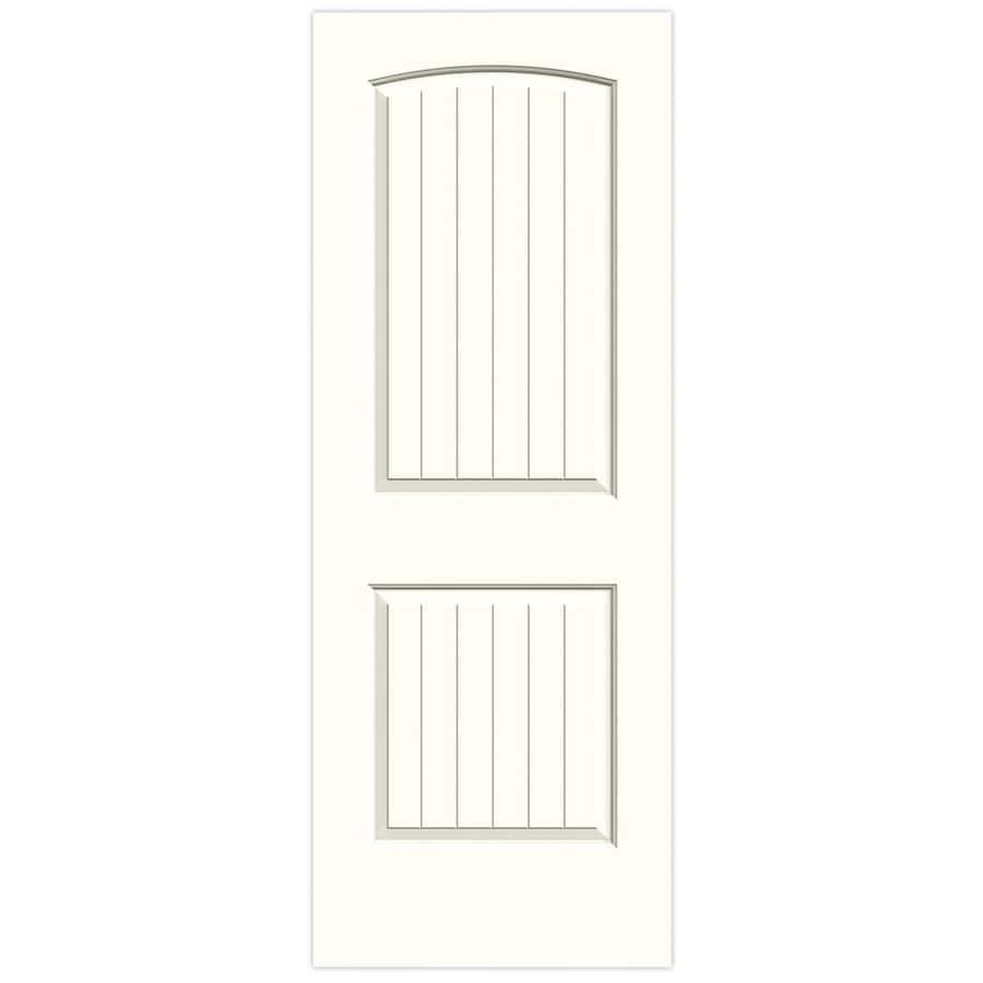 JELD-WEN Moonglow Solid Core 2-Panel Round Top Plank Slab Interior Door (Common: 30-in x 80-in; Actual: 30-in x 80-in)