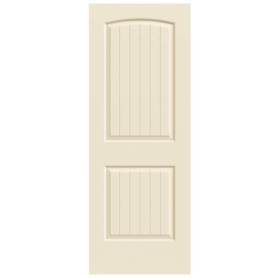 JELD-WEN Cream-N-Sugar Solid Core 2-Panel Round Top Plank Slab Interior Door (Common: 28-in x 80-in; Actual: 28-in x 80-in)