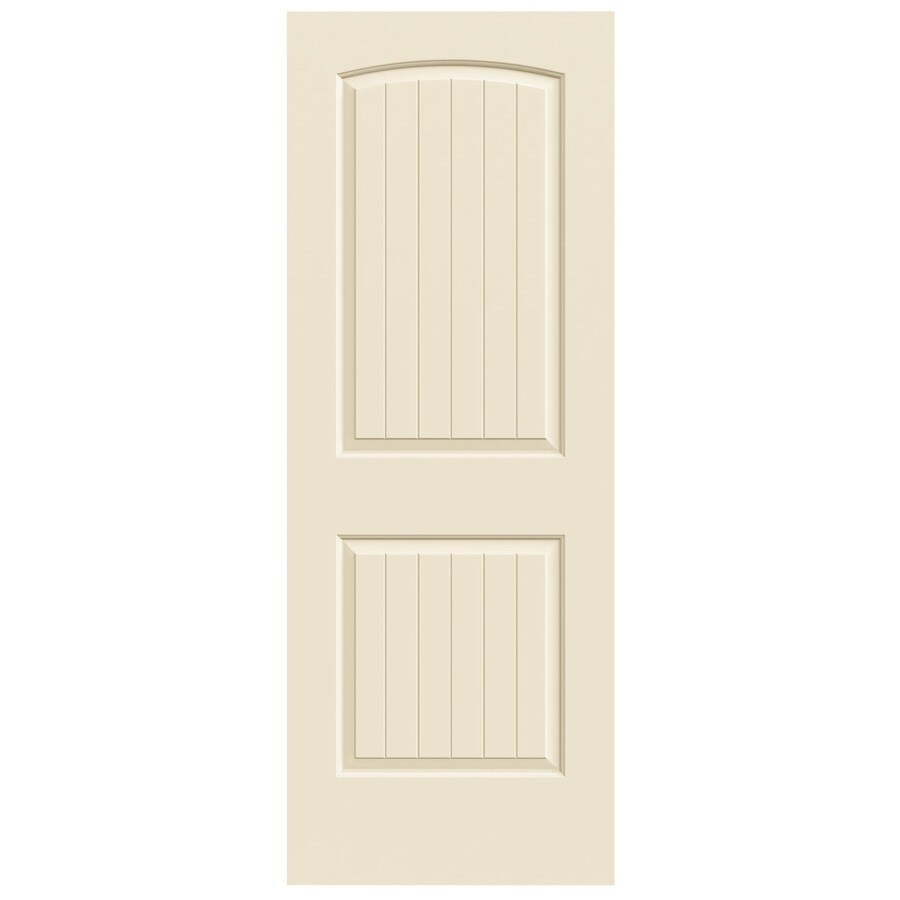 JELD-WEN Cream-N-Sugar Solid Core 2-Panel Round Top Plank Slab Interior Door (Common: 32-in x 80-in; Actual: 32-in x 80-in)