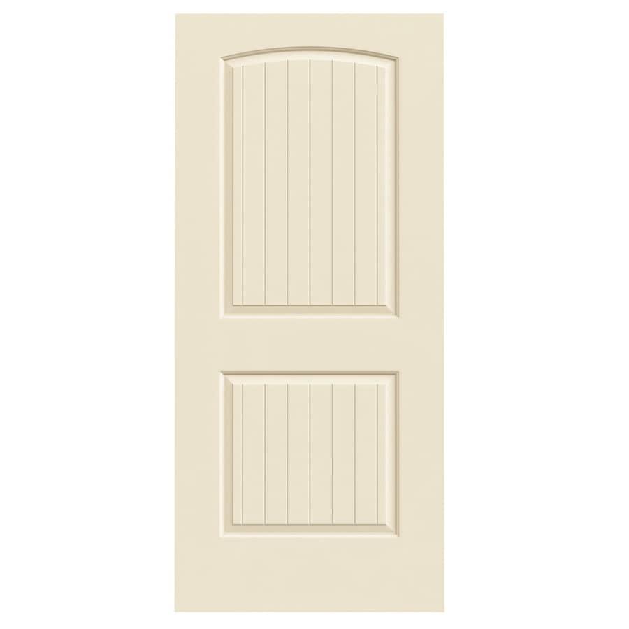 JELD-WEN Cream-N-Sugar Solid Core 2-Panel Round Top Plank Slab Interior Door (Common: 36-in x 80-in; Actual: 36-in x 80-in)