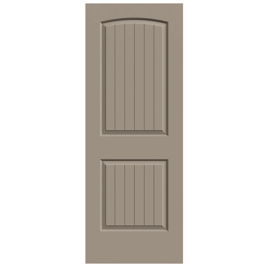 JELD-WEN Sand Piper Solid Core 2-Panel Round Top Plank Slab Interior Door (Common: 24-in x 80-in; Actual: 24-in x 80-in)