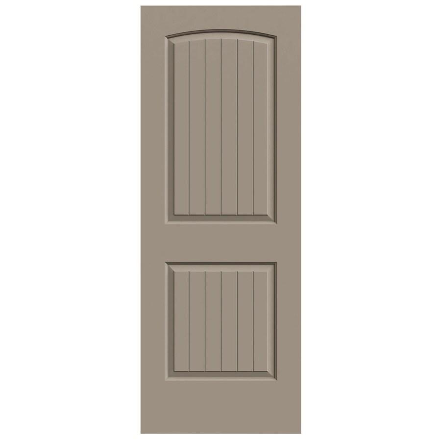 JELD-WEN Sand Piper Solid Core 2-Panel Round Top Plank Slab Interior Door (Common: 28-in x 80-in; Actual: 28-in x 80-in)