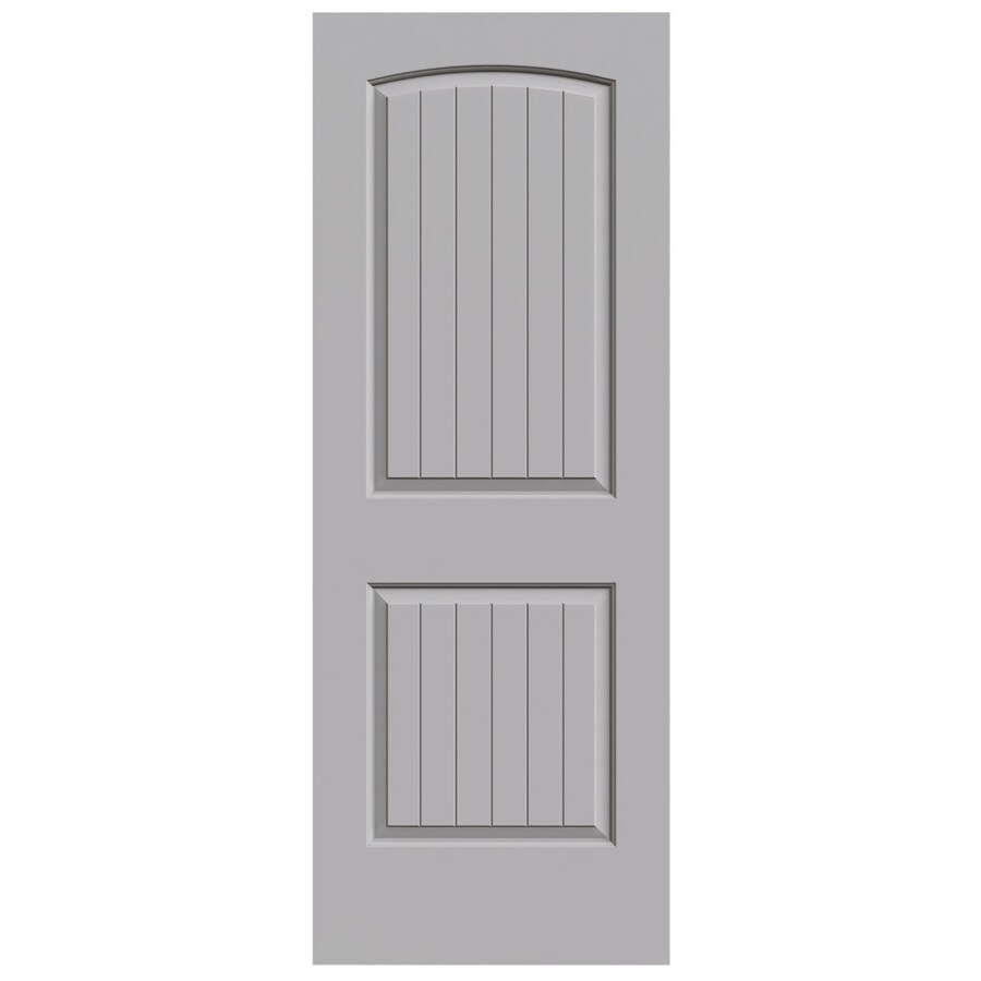 JELD-WEN Driftwood Solid Core 2-Panel Round Top Plank Slab Interior Door (Common: 28-in x 80-in; Actual: 28-in x 80-in)